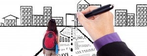 Female high school student walking toward a success door through a road with learning doodles